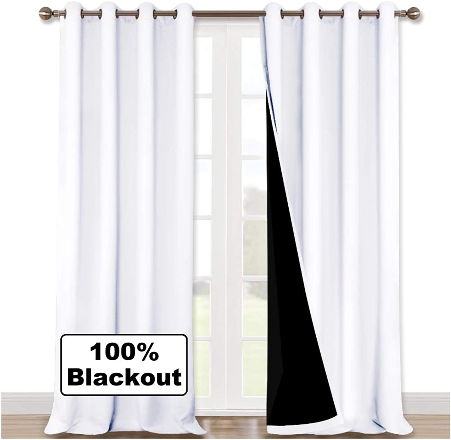 NICETOWN White 100% Blackout Curtains for Windows, Super Heavy-Duty Black Lined Total Darkness Drapes for Bedroom, Privacy Assured Window Treatment for Patio (Pack of 2, 52  W x 108  L)