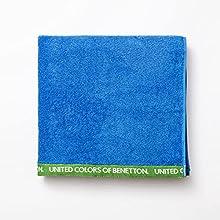 UNITED COLORS OF BENETTON- Toalla de Playa 90 x 160 cm, Rizo de 100% Algodón, Compacta, Ligera, Suave y de Secado Rápido, Apta para Lavadora, Azul