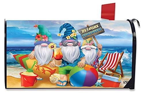 Briarwood Lane Summer Gnomes Humor Magnetic Mailbox Cover Beach Scene Standard