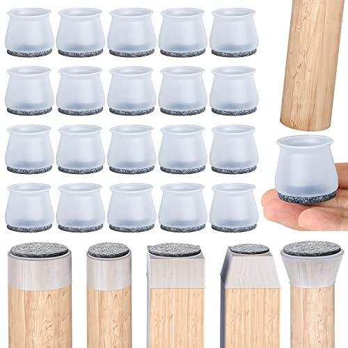 20PCS Upgraded Chair Leg Protector for Hardwood Floor, Free Moving Chair Leg Caps to Protects Floor, Silicone Felt Furniture Chair Leg Pads.(Medium)