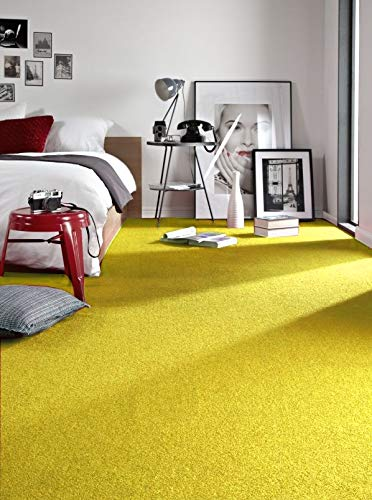 rugsx Einfarbiger Teppich Eton für Zimmer, Wohnzimmer, Schlafzimmer, Teppichboden Auslegware, gelb, Verschiedene Größen, 100x200 cm