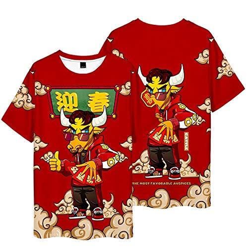 Año de la Buey Camisetas,Weiii Casual Suelto Camisetas para Hombres Y Mujeres,Camisetas con Zodíaco Signos,Verano Festivo Corto Manga Camisetas,Pareja Camisetas Suelto Y Cómodo/A/XL