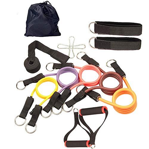 Yuzlderレジスタンスバンドセットには、筋肉増強用のドアアンカー、ホームフィットネストレーニング - トレーニング用腹筋、腕、脚、背中用が含まれます