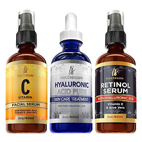 Pack of 3 Vitamin C & Hyaluronic Acid & Retinol Serums Natural Skin Care Facial Treatment Neck & Chest Anti-Aging Serum Fights Pigmentation Fine Lines and Wrinkles
