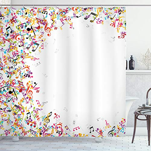 """Ambesonne Music Shower Curtain, Colorful Musical Notes with Frame Festival Singing Enjoyment Fashion Themed Print, Cloth Fabric Bathroom Decor Set with Hooks, 70"""" Long, White Yellow"""