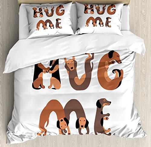 ABAKUHAUS Knuffel Dekbedovertrekset, Hug Me Woorden met Hond Letters, Decoratieve 3-delige Bedset met 2 Sierslopen, 200 cm x 200 cm, Witte Taupe Caramel