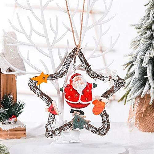 KimBird Merry Christmas Decorations Wreath Garland Pendant Holiday Front Door Wall Ornament Decor Thanksgivings Gift Christmas Wreath Five-Pointed Star Christmas Tree Pendant Snowman Santa