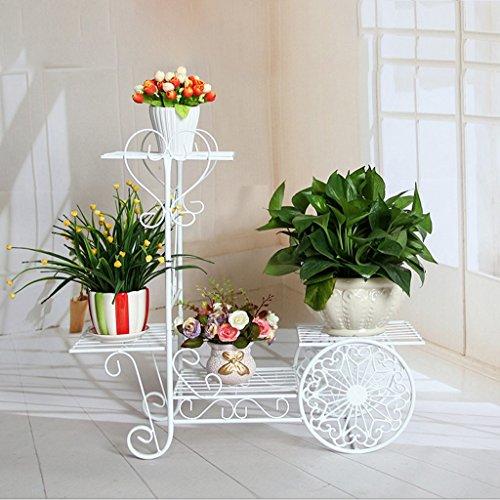 Nouveau style en bois de style européen Flower Stand Double couche en bois Multi-purpose Flower Rack Balcon Pots de fleurs Salon Ensemble d'orchidées suspendues Noir et blanc Optionnel ( Couleur : Blanc )