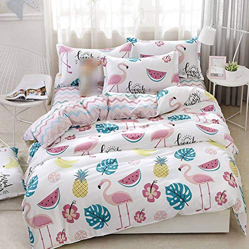 GOU Pineapple 4pcs Girl Boy Kid Bed Cover Set Duvet Cover Adult Child Bed Sheets and Pillowcases Comforter Bedding Set,2TJ-61009-010,Super King Cover