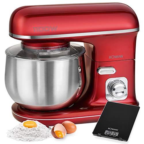 Bomann KM 6010 CB Küchenmaschine mit 5 l Fassungsvermögen, elektronische Geschwindigkeit, 1100 W, Rot + Küchenwaage