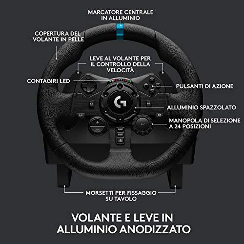 Logitech G923 Volante da Corsa e Pedali TRUEFORCE 1000 Hz di Ritorno di Forza, Design di Guida Reattivo, Launch Control, Doppia Frizione, Coprivolante in Vera Pelle, per PS5, PS4 e PC, Nero