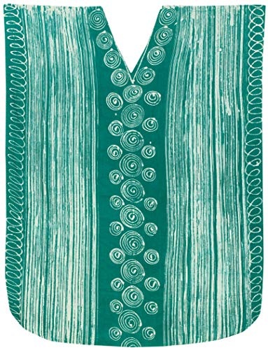 LA LEELA Mujeres Caftán Algodón túnica Batik Kimono Libre tamaño Largo Maxi Vestido de Fiesta para Loungewear Vacaciones Ropa de Dormir Playa Todos los días Cubrir Vestidos Mar Verde_X565