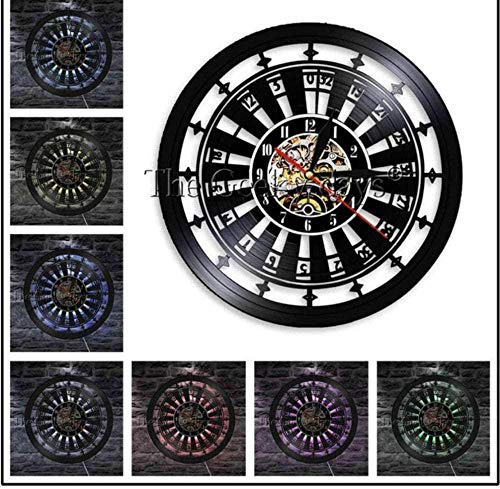 Hueco 7 Color LED Luz 1 Pieza Casino Gamble Room Sign Ruleta Disposición Mesa Reloj de Pared Poker Ruleta Juego Vinilo Record Reloj de Pared