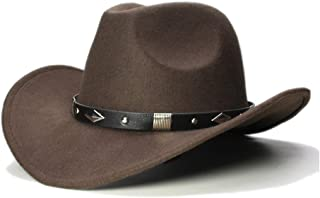 ウエスタンカウボーイハット ウールポリエステル西部カウボーイハット女性のための男性ファッションビッグロールアップワイドつば騎乗位帽子ジャズ乗馬ソンブレロキャップ (色 : Dark coffee, サイズ : 56-58CM)