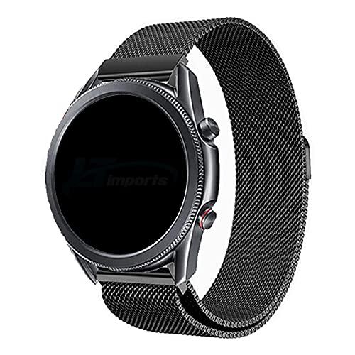 Pulseira 22mm Magnética Milanese compatível com Samsung Galaxy Watch 3 45mm - Galaxy Watch 46mm - Gear S3 Frontier - Amazfit GTR 47mm - Marca Ltimports (Preto)