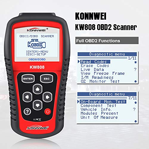 """KONNWEI KW808 Auto OBDII Code Reader 2.8""""Large Screen OBD2 Scanner with Full Diagnostic Scan Tool Functions Check Car Engine Light Fault Code Analyzer for All 1996 and Newer Cars with OBD II Protocol"""