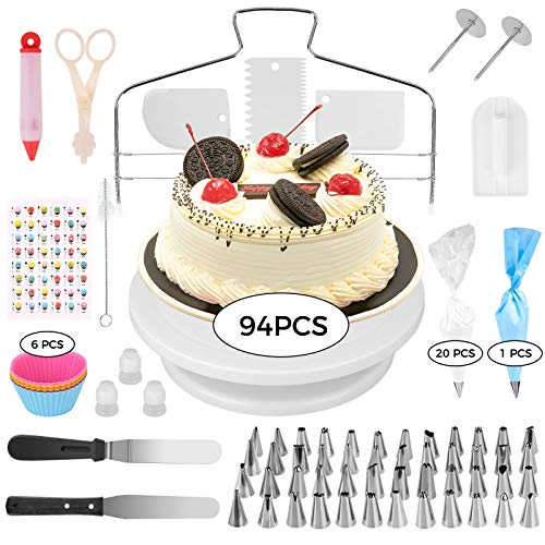 94 Piezas Decoración de Pasteles,  Torta Giratoria con 48 Boquillas para Manga Pastelera Profesional, Bolsas de Pastelería, Espátula de Silicona para Tartas y Pasteles