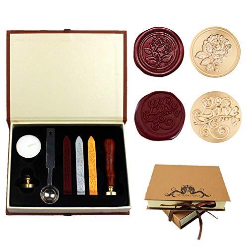 Dsaren Siegelstempel Set Vintage Wachssiegel Stempel mit 2 Messing Siegel Stempel Siegelwachs Löffel Personalisierte Geschenkset (Liebe + Rose)