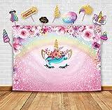 Temático de Unicornio Fotografía Telón y flores brillantes estudio puntales. Fondo de Fotomatón para arco iris decoración de fiesta de Niñas cumpleaños, Novias y princesas rosas baby shower
