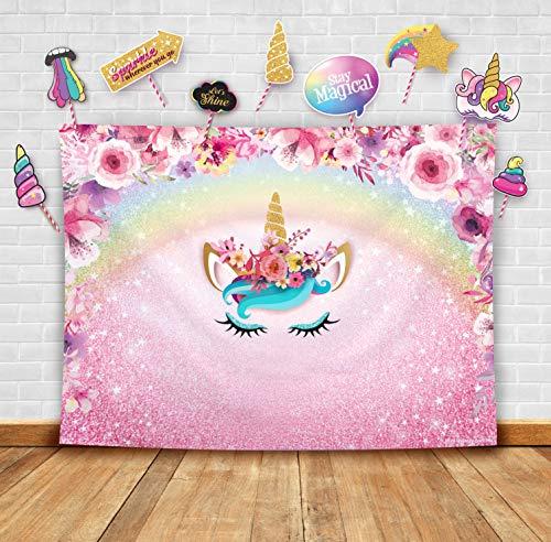 Fotohintergrund und Studio-Requisiten, Einhorn-Motiv, glitzernd, Blumendesign, ideal als Fotokabinen-Hintergrund, Regenbogen-Party-Zubehör und rosa Prinzessinnen-Dekoration für Babypartys, pink floral