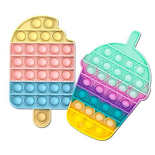 Bubble Fidget Toy Sensorial Alivio de estrés para necesidades especiales de Autismo   Juguetes para Aliviar la ansiedad extrusión para adultos y niños (helado + taza de beber)