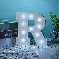 ライトアップ, LEDアルファベット木製文字照らされた文字ナイトライト装飾的なLEDアルファベット文字ランプ白 (R)