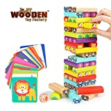 The Wooden Toy Factory - Juego de Torre de Bloques de Madera Animales...