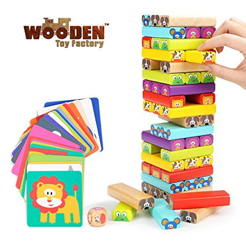 The Wooden Toy Factory - Juego de Torre de Bloques de Madera Animales 4 en...