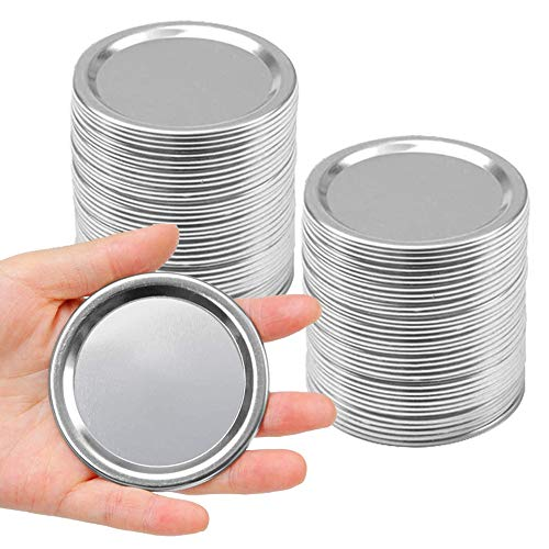 Vankcp 50 Pack Mason Jar Lids Regular Ball Wide Mouth Lids Canning Lids with Silicone Seals Rings for Mason Storage Metal Caps (Not Include Band)