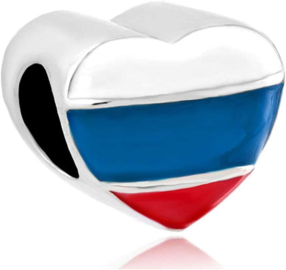 LilyJewelry Heart Love Russian France Germany Patriotic Flag Charm Beads for Bracelets