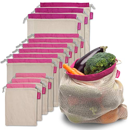 Cottify 13-pack of Mesh Produce Bags Grocery Reusable, Premium Quality Mesh and Muslin, Cotton Produce Bags, Bulk of 4 Sizes, Tare Weight, Double Stitched, Vegetable Bag, Washable, Organic, Pink
