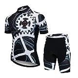 AQXYM Conjunto De Jersey De Ciclismo Transpirable De Manga Corta, Camiseta De Ciclismo De Secado Rápido con Pantalones Cortos Acolchados con Cojín 3D XS Negro