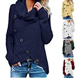 JESFFER Womens Button Turtle Cowl Jumper Pullover Neck Color Block Irregular Hem Cardigan Chunky Knit...