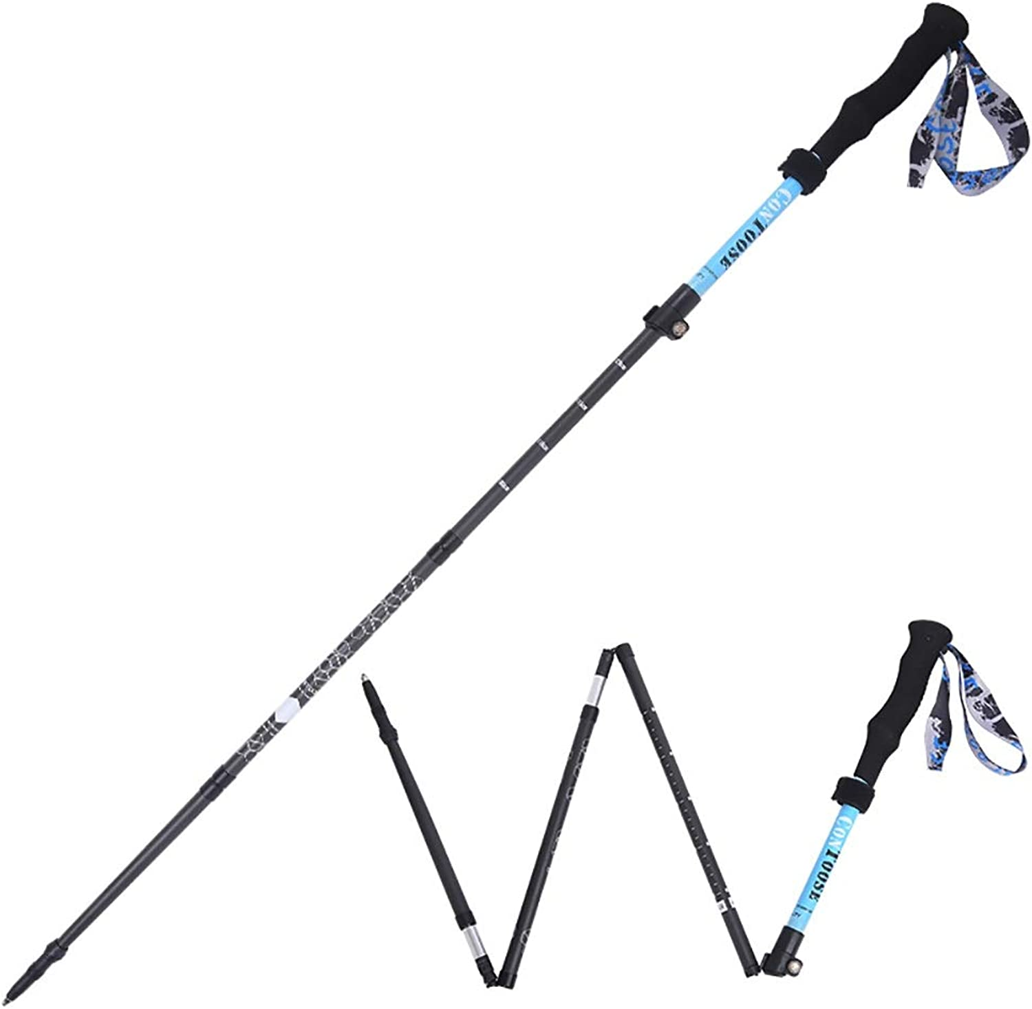 ROCKFEATHER Trekking Poles Collapsible Lightweight Carbon Alloy WearResistant CorrosionResistant Carbon Tip Suitable for Men's Women's Mountaineering Equipment,1PCS,Accessories&Carry Bags