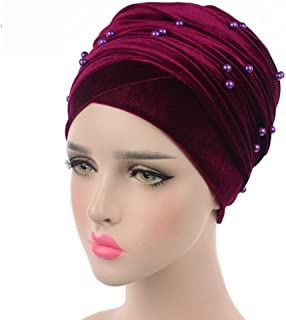 Fashian Lady Beanie Velvet Muslim Turban Pleated Head Wrap Scarf Long Tail Hat Pre Tied Headwear Cancer Chemo Cap WJ-01 (Color : 1, Size : 170 * 26CM)