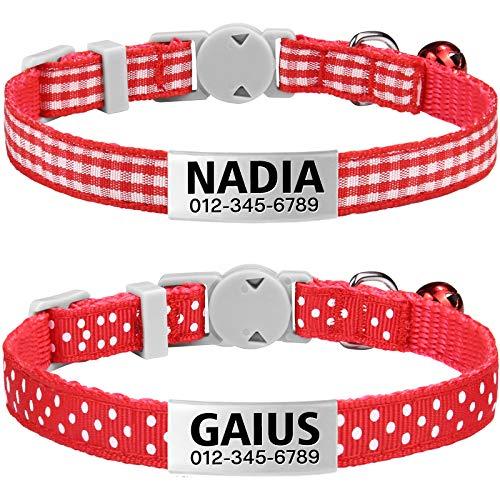 TagME Katzenhalsband mit Namen, Katzenhalsband mit Adresse, Katzenhalsband mit Sicherheitsverschluss, Rot, 2 Pack