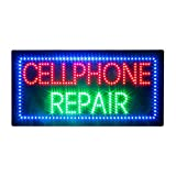 LED Cell Phone Repair Sign, Super Bright LED Advertising Display for Cell Phone Store Mobile Phone Electronics Repair Shop Decor (Cell Phone Repair)
