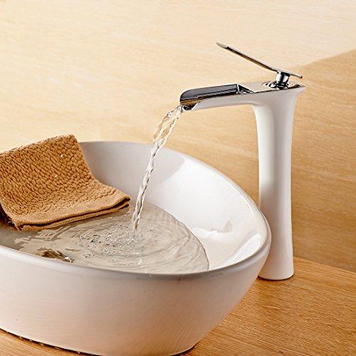 Gimili Wasserhahn Bad Badezimmer Armaturen Spueltischarmatur Wasserhähne Weiß Chrom Waschtischarmaturen Weiss