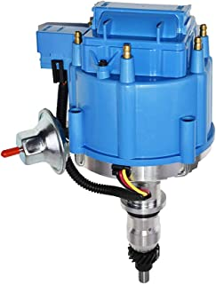 A-Team Performance HEI Complete Distributor Straight 6 Cylinder 240 and 300 65K Coil Compatible With Ford F100 F150 F250 E100 E150 One Wire Installation Blue Cap