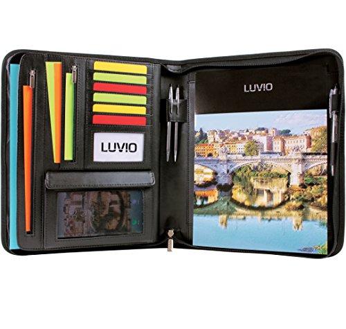 LUVIO Padfolio Portfolio with Bonus Writing Pad, Professional Interview PU Leather Padfolio with Zippered Closure, Interior 10.1 Inch Tablet Sleeve