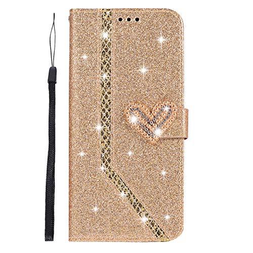 Ukayfe Custodia Cover Compatibile con Samsung Galaxy S9 Plus,Glitter Brillantini Diamante Amare Flip Caso Custodia in Pelle PU Portafoglio con Interno d'oro TPU Protettiva Cover-(d'oro)