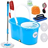 JSN Plastic Home Magic Spin Mop with Bucket, Cleaning Wipe Combo Set
