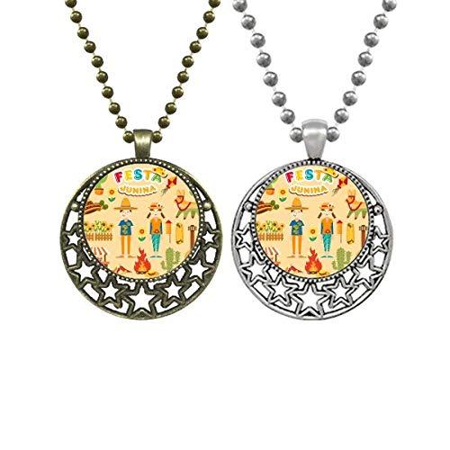 Halskette mit Anhänger mit lächelndem Feuer, Kaktus, Gitarre, Festival, Illustration, Liebhaber, Retro, Mond, Sterne, Schmuck