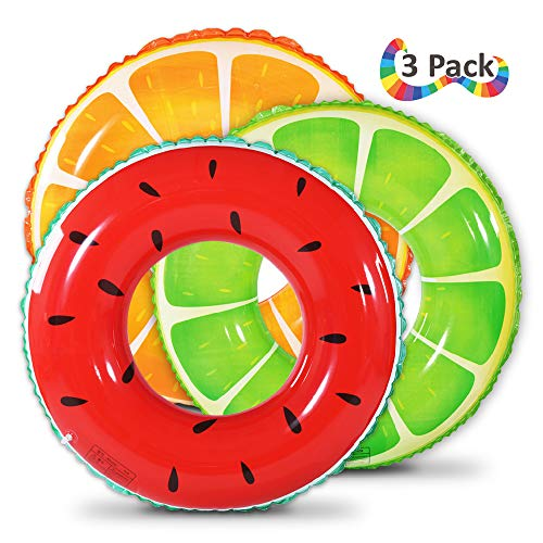 Fruit Pool Float, Watermelon Orange Lemon Swim Tube Ring, Inflatable Swim Pool Party Inner Tube for Kids, 3 Style Summer Pool Toy for Fun