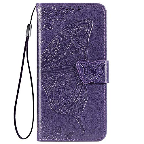 TANYO Schmetterling Flip Folio Hülle für ZTE Blade V2020, Schutzhülle PU/TPU Leder Klapptasche Handytasche mit Kartenfächer, Handyhülle - Dunkelviolett