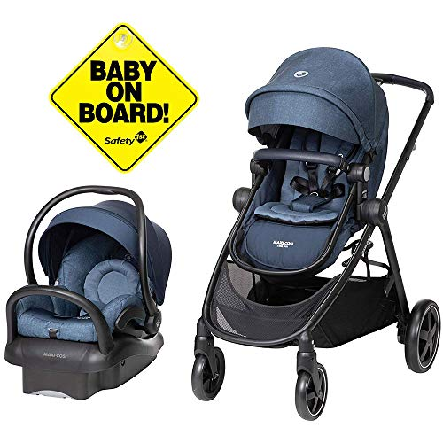 Maxi-Cosi Zelia Travel System with Mico 30 Car Seat - Nomad Blue with Baby On Board Sign