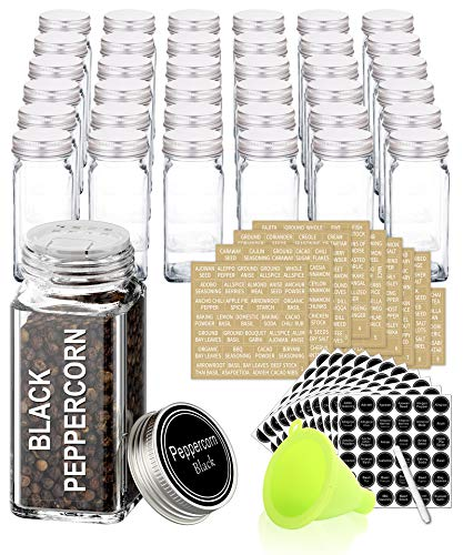 SWOMMOLY 36 Glass Spice Jars with 713 Spice Labels, Chalk Marker and Funnel Complete Set. 36 Square Glass Jars 4 OZ, Airtight Cap, Pour/sift Shaker Lid