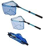Foldable Fishing net for Steelhead,Salmon,Kayak,Catfish,Bass,Trout Fishing,Telescopic Extending Fish Landing net and Durable Soft Mesh for Catching&Releasing (35.6inch Telescopic Pole Fishing net)