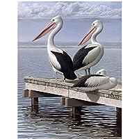 JXRDG フルスクエアDIYダイヤモンド刺繡白鷺鳥5Dダイヤモンド絵画ラインストーンモザイク装飾30x40cmフレームなし