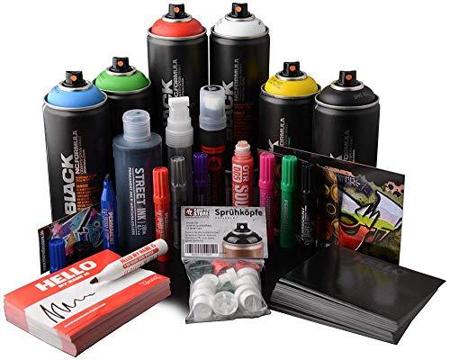 Set per principianti Graffiti Street Art Montana, bombolette spray, adesivi, inchiostro e penne